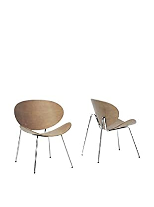 Baxton Studio Set of 2 Reaves Accent Chairs, Walnut