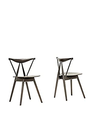Baxton Studio Set of 2 Mercer Dining Chairs, Brown