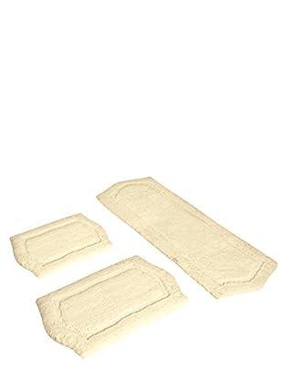 Paradise 3-Piece Memory Foam Bath Rug Set, Ivory