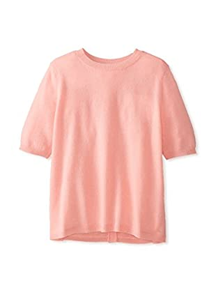 Minnie Rose Women's New and Now Cashmere Button Back Crew Neck Sweater