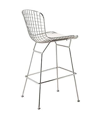 Manhattan Living Wire Bar Height Chair, White