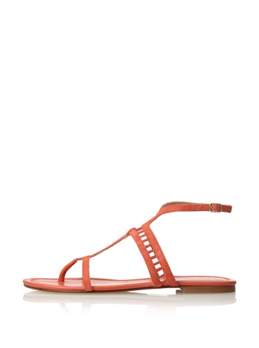 Sigerson Morrison Women's Kade Flat Sandal (Coral Suede)