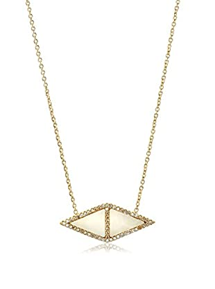 Chloe & Theodora Mother of Pearl Inlay Reverse Triangle Necklace