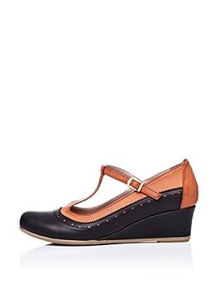 Ziya Zapatos con Cuña Hebilla (Negro / Tabaco)