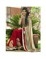 Beautiful Beige Half-Half Saree