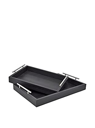 Three Hands Set of 2 Leather Trays, Black