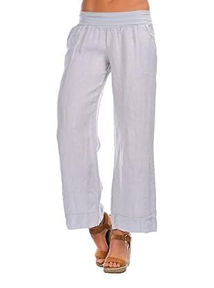 100% Lino Bleu Marine Pantalón Corinne