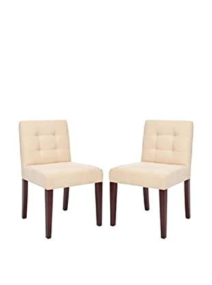 Safavieh Set of 2 Gavin Tufted Side Chairs, Natural Cream
