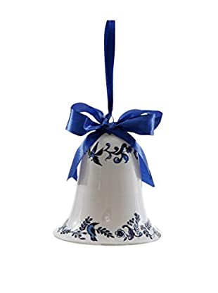 Winward Handcrafted Bell Ornament, White/Blue