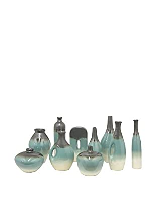Three Hands Set of 10 Assorted Ceramic Vases, Blue/White
