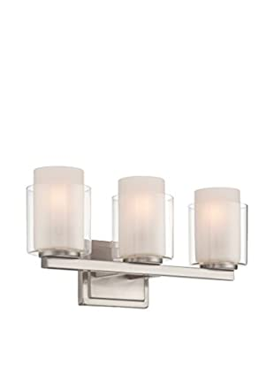 Lite Source Eliseo 3-Light Vanity Fixture, Polished Steel/Clear/Frosted