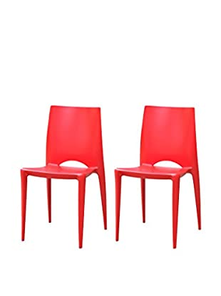 Manhattan Living Set of 2 Square Dining Chairs, Red