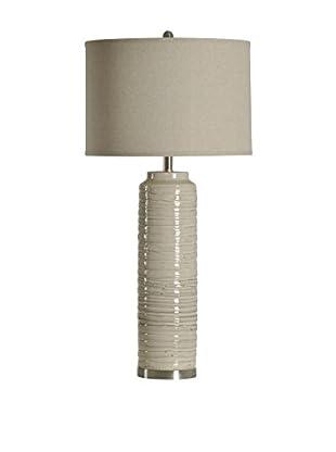 StyleCraft Anastasia Ceramic Tall 1-Light Table Lamp With Linen Shade, Light Grey/Natural