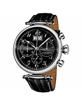 Akribos Black Dial Chronograph Black Leather Mens Watch Ak628Bk