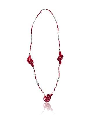 Cortefiel Collar Piedras Nudos (Rojo)