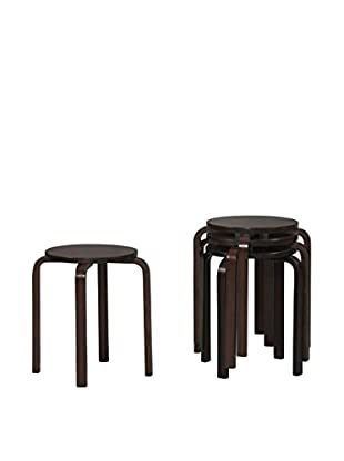 Linon Home Décor Set of 4 Bentwood Stools, Wenge