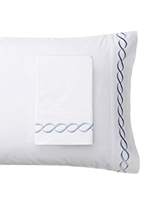 Mélange Home Rope Embroidered Egyptian Cotton Standard Pillowcase, Blue, Standard