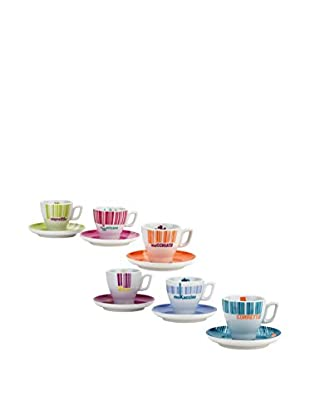 Tognana  Kaffeetasse mit Untertasse 6er Set  Coffee Barcode mehrfarbig