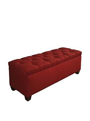 MJL Furniture Sole Secret Large Upholstered Shoe Storage Bench, Red