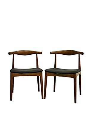 Baxton Studio Set of 2 Sonore Solid Wood Mid-Century Style Dining Chairs, Walnut