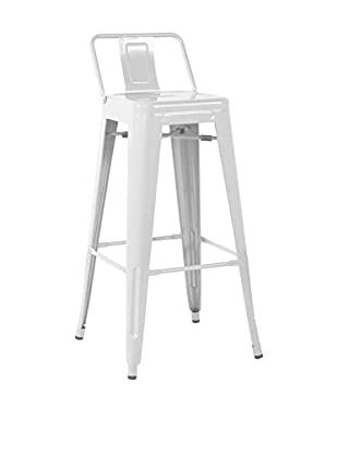 LO+DEMODA Set Taburete de bar 2 Uds. Metal Ural Square Blanco