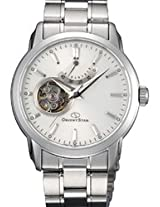 Orinet Star Automatic Men White Dial Silver Metal Strap Round Shape, Made in Japan