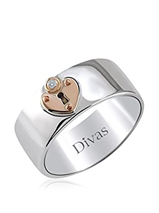 Divas Diamond Anillo Diamante Corazón Lock (Plata)