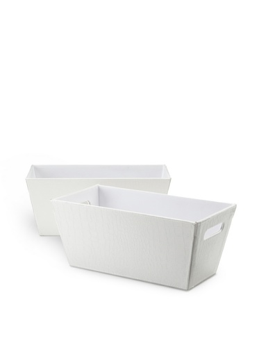 Wald Imports Set of 2 Faux Leather Organization Totes (White)