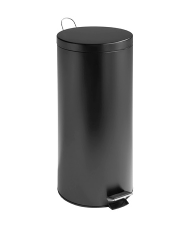 Honey-Can-Do Round Stainless Steel Step Trash Can with Liner, Black, 30-L/8-Gallon