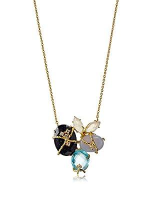 Indulgems Sandstone, Blue Topaz, Blue Chalcedony & Rainbow Moonstone Cluster Necklace