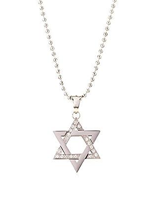 BlackJack Polished Stainless Steel Star of David CZ Pendant Necklace