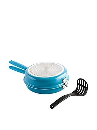 QUID Sartén Doble 26 cm Azul Con Aplastapatatas Modelo Gastro Color
