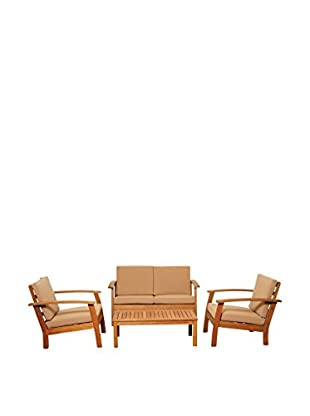Amazonia Collins 4-Piece Deep Seating Set with Khaki Cushions, Brown