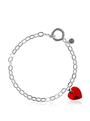 So Charm with Crystals from Swarovski Pulsera  Plateado / Rojo