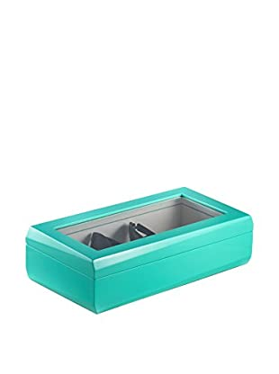 Bey-Berk Lacquered Turquoise Wood Multi Eyeglass Case
