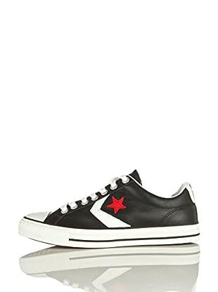 Converse Zapatillas Leather (Negro / Blanco / Rojo)