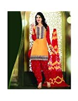 115413_Desirable Resham Embroidered Yellow and Red Patiala Suit