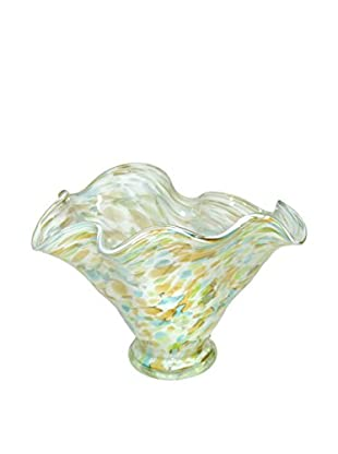 Jozefina Art Glass Fancy Bowl, White/Green/Amber/Turquoise