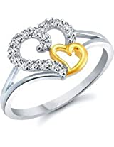 Meenaz Valentine Heart Gold & Rhodium In American Diamond Plated Ring For Girls,Couple And Women Cz Ring Fr402