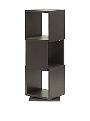 Baxton Studio Ogden 3-Level Rotating Bookshelf, Espresso