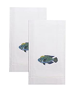 Henry Handwork Set of 2 Blue Fish Embroidered Hand Towels, White