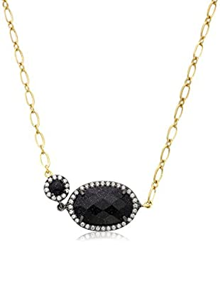 Riccova 14k Gold and Black Rhodium Plated Cz Detailed Blue Sand Stone Chain Necklace