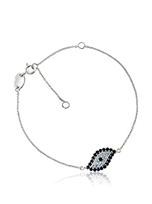 TerraFina .70 Cttw Created Sapphire and Genuine Blue Topaz Evil Eye Bracelet In Sterling Silver and Rhodium