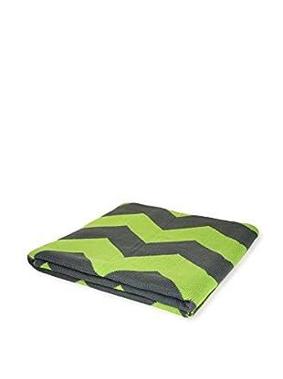 PÜR Cashmere Jacquard Chevron Pattern Throw, Grass Green