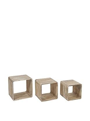 VINTAGE SELECTION Set Estantería De Pared 3 Uds. Cubes