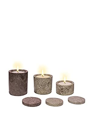 Volcanica Set of 3 Grey Marble Pillar Candles