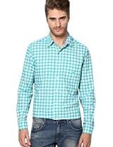 Aqua Blue Checks Casual Shirt