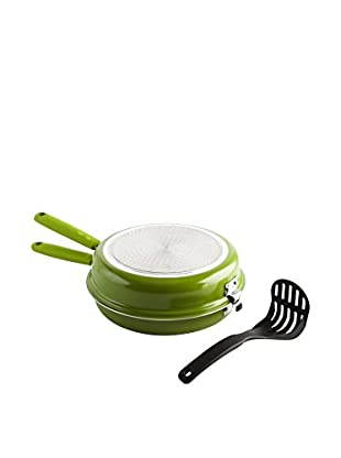 Quid Sartén Doble 26 cm Verde Con Aplastapatatas Modelo Gastro Color