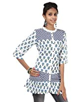 Rajrang Cotton Kurti - PTP00114 (Blue And White)