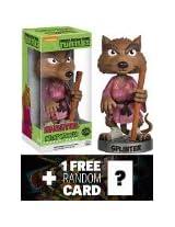 Splinter Bobble Head Figure TMNT x Wacky Wobbler Series 1 FREE icial classic TMNT Trading Card Bundle
